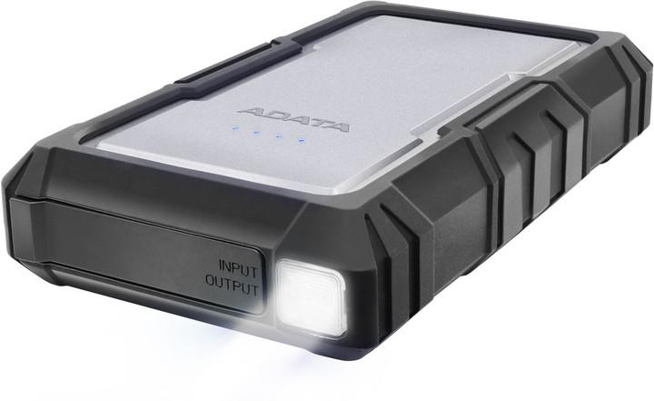 ADATA D16750 16750mAh, LED svítilna, stříbrná
