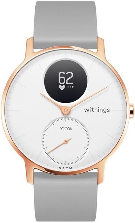 Withings chytré hodinky Steel HR (36mm) special edition- rose gold - zlaté s šedým řemínkem