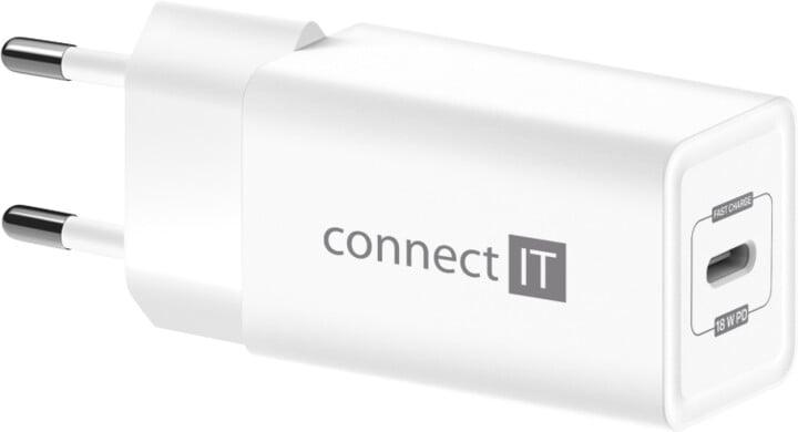CONNECT IT nabíjecí adaptér, 1x USB-C, PD, 18W, bílá