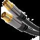 PremiumCord kabel antenní IEC, M/F, HQ, 750hm (135dB), 4x stíněný, 3m, černá