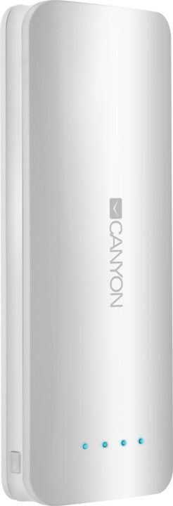 Canyon powerbanka 15600 mAh, micro USB input 5V/2A, USB output 5V/2,4A (max.), bílá