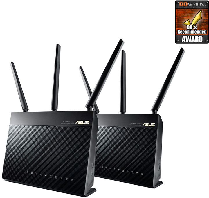 ASUS RT-AC67U, AC1900, Wi-Fi Gigabit Dual-Band Aimesh Router, 2ks