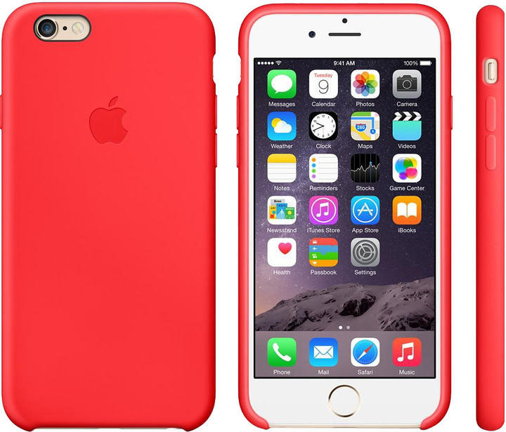 Apple Silicone Case pro iPhone 6, červená