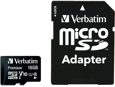 Verbatim MicroSDHC 16GB (Class 10) + SD adaptér