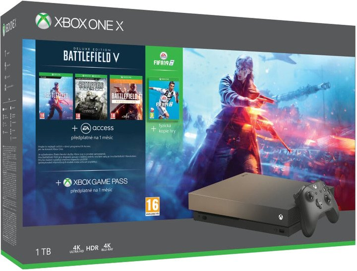 XBOX ONE X, 1TB, Gold Rush Special Edition + BF V Deluxe + FIFA 19 + BF 1 Revolution + BF 1943