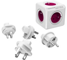 PowerCube REWIRABLE + Travel Plugs rozbočka 5ti zásuvka, fialová - 8718444083085