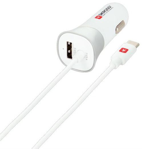 SKROSS USB Type-C nabíjecí autoadaptér, integrovaný kabel + 1x USB, 5400mA