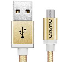 ADATA Micro USB kabel pletený, 1m, zlatý - AMUCAL-100CMK-CGD