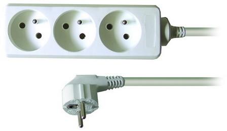 Prodlužovací kabel 230V 3m - 3x zásuvka, bílý