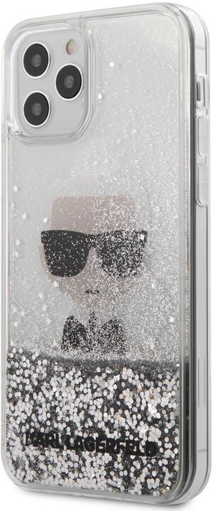 "KARL LAGERFELD ochranný kryt Liquid Glitter Iconic pro iPhone 12/ 12 Pro (6.1""), stříbrná"