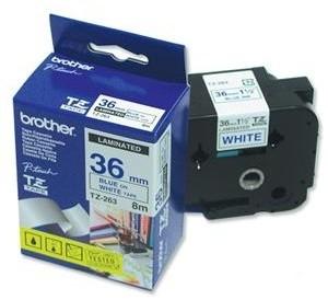 Brother TZE-263, bílá/modrá, 36mm