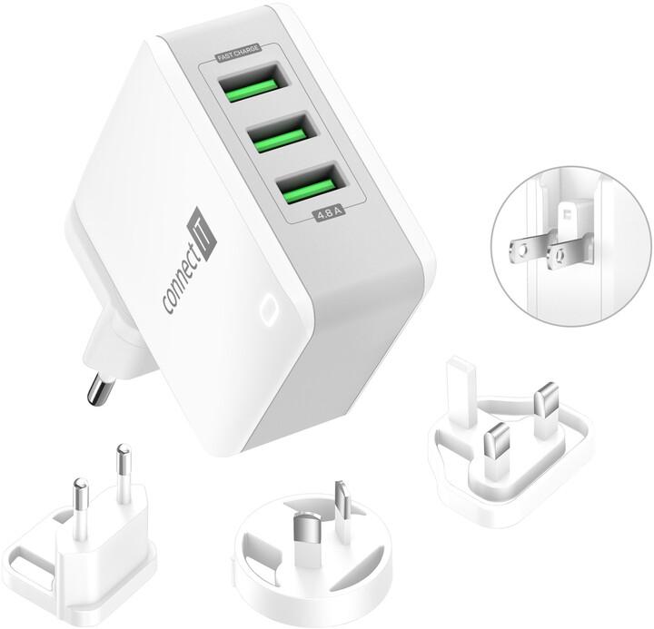 CONNECT IT nabíjecí adaptér Nomad2 WorldTravel, cestovní, 3xUSB, 24W, bílá