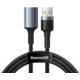BASEUS kabel Cafule Series USB 3.0, M/F, nabíjecí, 2A, 1m, šedá
