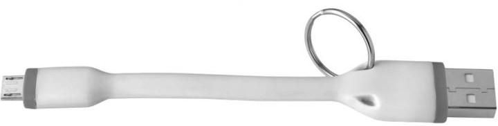 CELLY USB kabel s microUSB konektorem, 12 cm, bílý