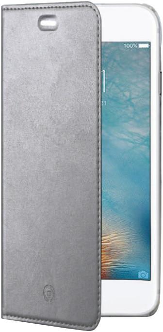 CELLY Air ultra tenké pouzdro typu kniha pro Apple iPhone 7, PU kůže, stříbrné