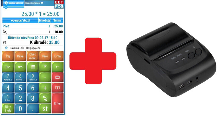 WINTEC EET-POS plná verze + mobilní tiskárna 5802LD, Android