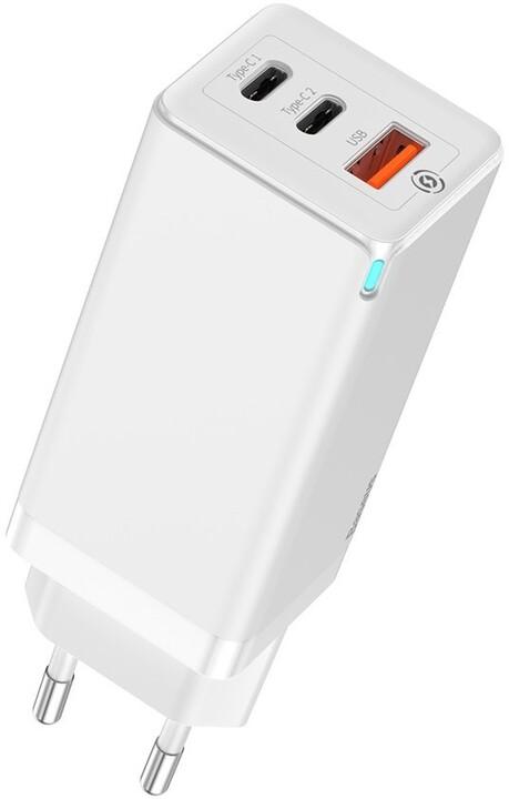 BASEUS cestovní nabíječka GaN Quick Travel Charger C+C+A 65W EU, bílá