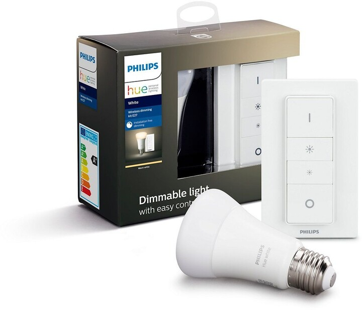 Philips Hue žárovka E27, LED, 9W + dimmer switch - 2. generace s BT