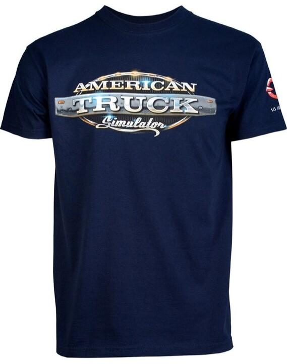 Tričko American Truck Simulator - Modré s logem (XXL)
