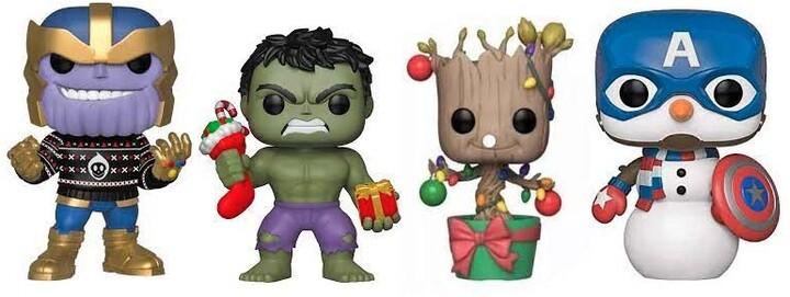 Figurka Funko POP! Marvel - Holiday Hulk, Groot, Cap. Snowman a Thanos