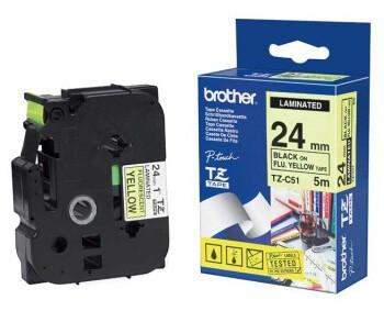 Brother TZE-C51, signální žlutá/černá, 24mm