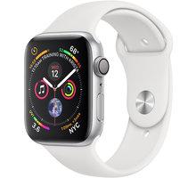 Apple Watch series 4, 44mm, pouzdro ze stříbrného hliníku/bílý řemínek  + Jabra Talk 5 (v ceně 499,-) + Powerbanka 5000 mAh, bílá (v ceně 499,-)