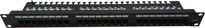 """Masterlan Patch panel 19"""", 24xRJ45, CAT6, vyvazovací lišta, 1U, černá"""