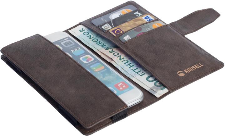 Krusell univerzální knížkové pouzdro vargon peněženka 5XL, hnědá