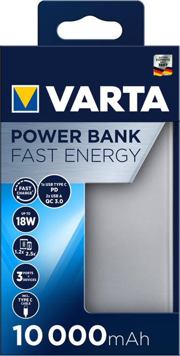VARTA powerbanka Fast Energy, 10000mAh, USB-C, 2xUSB 3.0, QC, PD, šedá