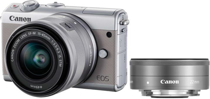 Canon EOS M100 + EF-M 15-45mm IS STM + EF-M 22mm STM, šedá