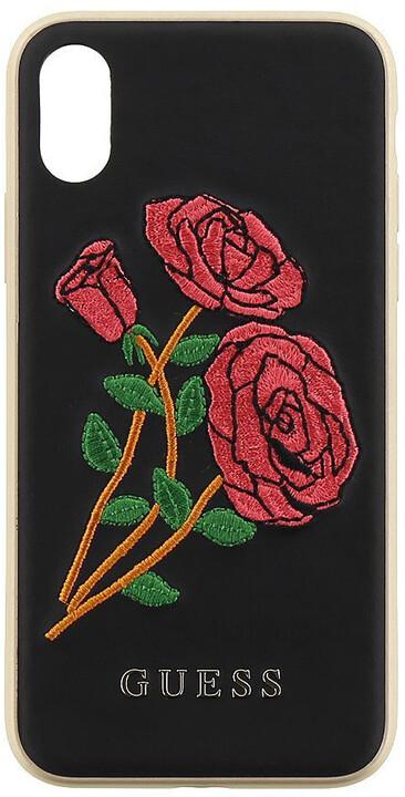 Guess Flower Desire Zadní Kryt Black pro iPhone X