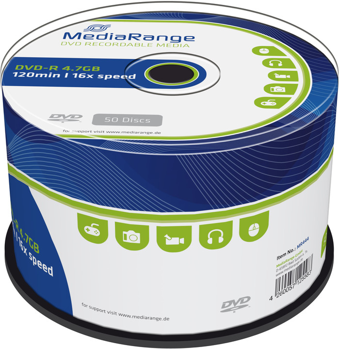 MediaRange DVD-R 4,7GB 16x, Spindle 50ks