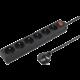 PremiumCord prodlužovací přívod 230V, 5m, 6 zásuvek + vypínač, černá