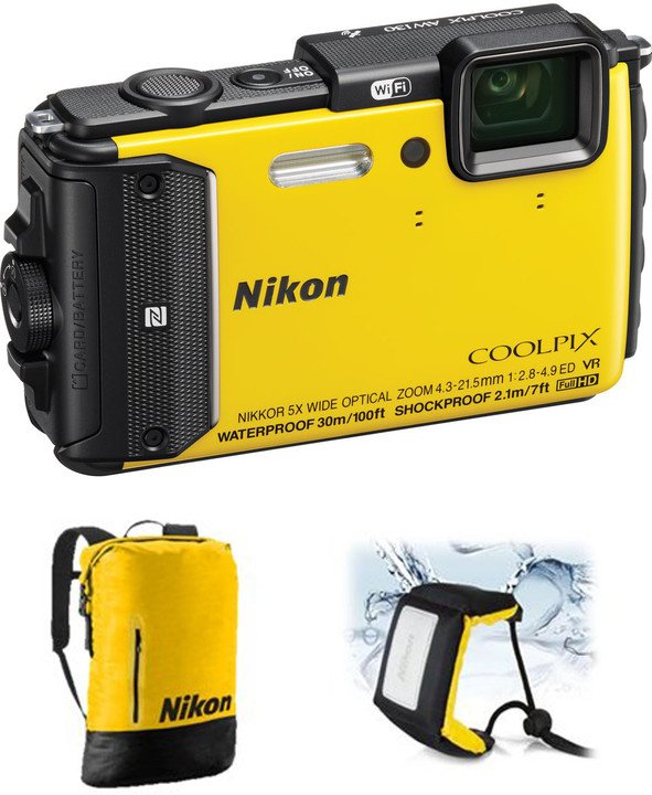 Nikon Coolpix AW130, Diving Kit, žlutá