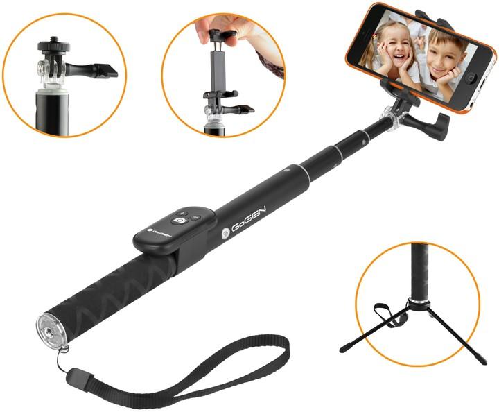 GoGEN 4 Selfie tyč teleskopická, bluetooth, černá