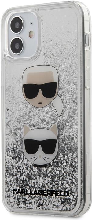 "KARL LAGERFELD ochranný kryt Liquid Glitter 2 Heads pro iPhone 12 Mini (5.4""), stříbrná"