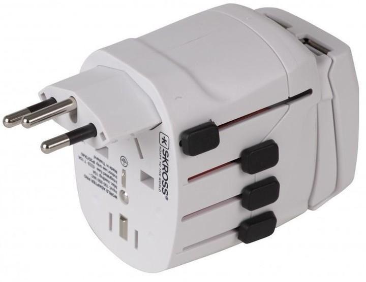 Skross World Pro USB cestovní adaptér, 2x USB, univerzální pro celý svět