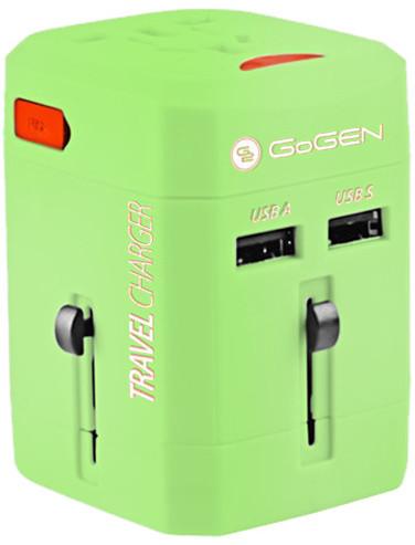 GoGEN cestovní adaptér pro 150 zemí, 2x USB, zelená