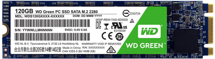 WD SSD Green, M2 2280 - 120 GB