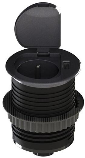 Solight USB vestavná zásuvka s víčkem, prodl. přívod 1,5m, USB 2100mA, stříbrná