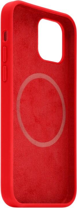 FIXED tvrzený silikonový kryt MagFlow pro iPhone 12 Pro Max, komaptibilní s MagSafe, červená