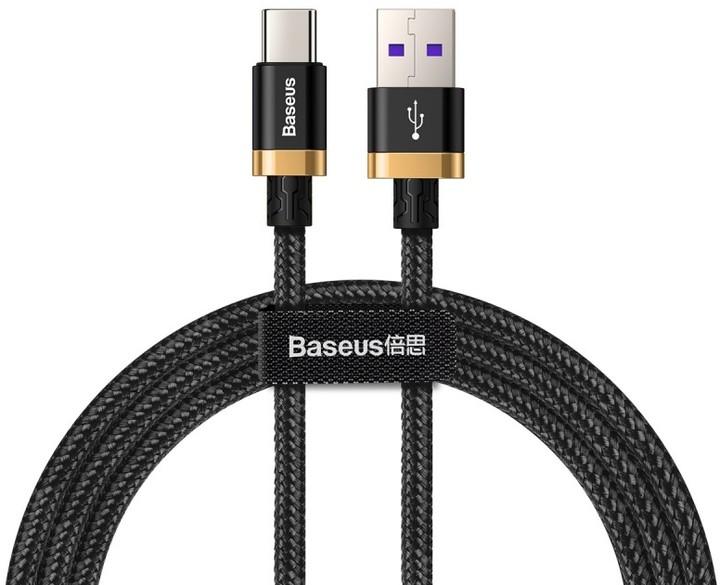 Baseus kabel pro rychlonabíjení a přenos dat HW USB Type-C 40W 2m, zlato/černá