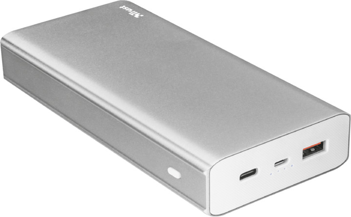 Trust Omni Plkus Metal PowerBank USB-C QC3.0 20000 mAh, stříbrná