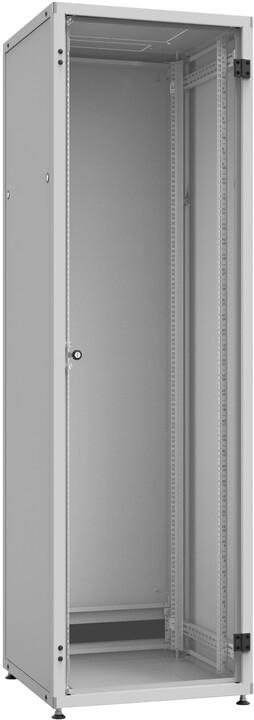 Solarix LC-50 24U, 600x600 RAL 7035, skleněné dveře, 1-bodový zámek