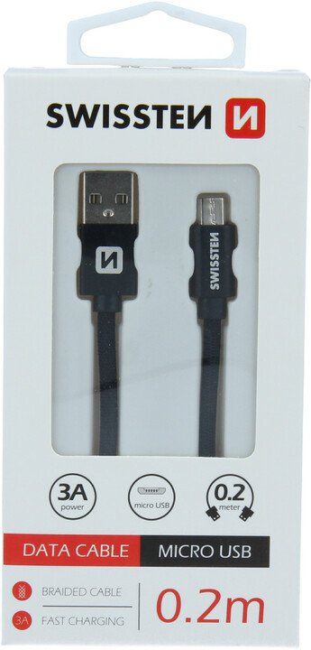 SWISSTEN datový kabel USB - microUSB, M/M, 3A, opletený, 0.2m, černá