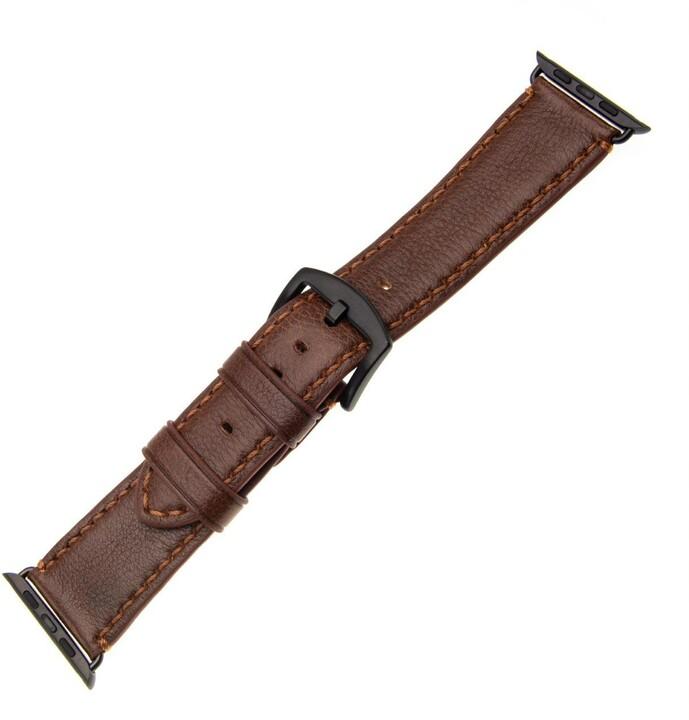 FIXED Berkeley kožený řemínek pro Apple Watch 42mm a 44mm s černou sponou, velikost L, hnědý