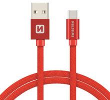 SWISSTEN textilní datový kabel USB 3.1 C/M - USB 2.0 A/M, 3m, červený - 71527901
