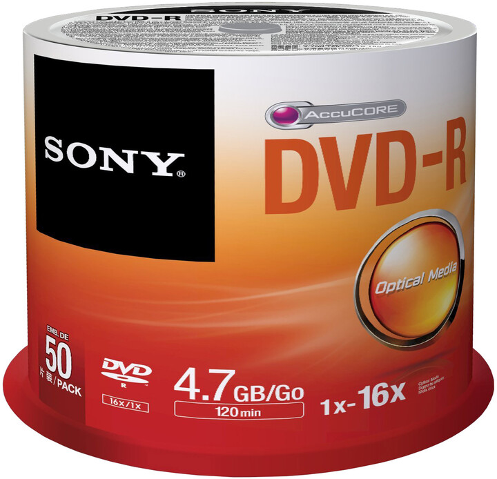 Sony DVD-R 4,7GB 16x Spindle, 50ks