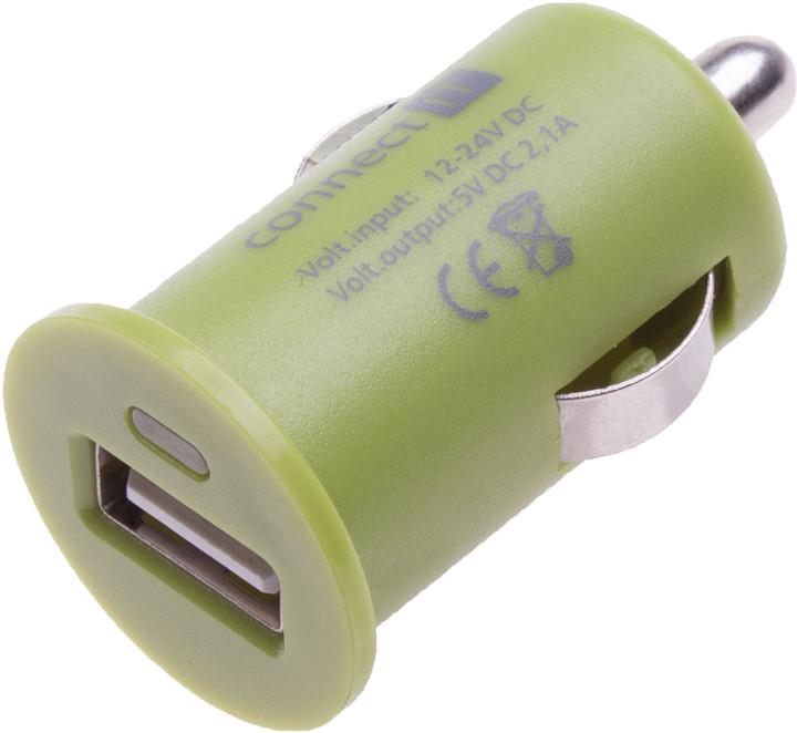 CONNECT IT auto adaptér 1xUSB 2,1A, zelená