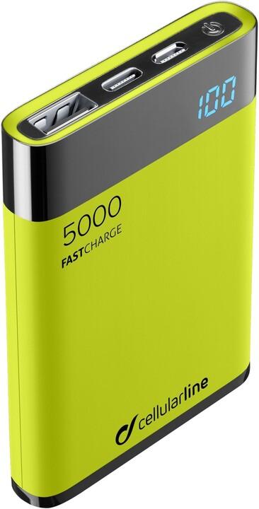 CellularLine FreePower Manta HD powerbanka 5000mAh, USB-C + 2x USB port, zelená
